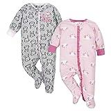 Gerber Baby Girls 2-Pack Sleep 'N Play, Bunnies & Unicorn, 0-3 Months