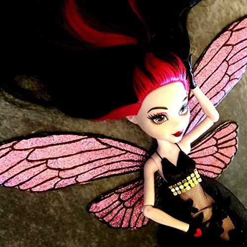Miniature dragonfly wings. Ooak fairy glittery iridescent hand-painted flight 1:6 scale handmade