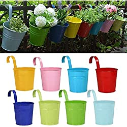 RIOGOO Flower Pots Hanging Flower Pots, Garden Pots Balcony Planters Metal Bucket Flower Holders - Detachable Hook (8 PCS)