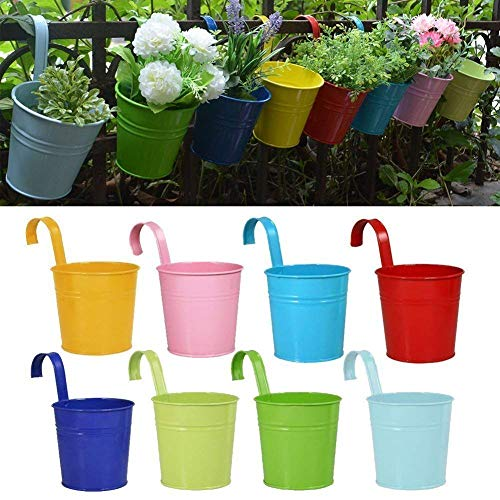 RIOGOO Flower Pots Hanging Flower Pots, Garden Pots Balcony Planters Metal Bucket Flower Holders - Detachable Hook (8 PCS) ()
