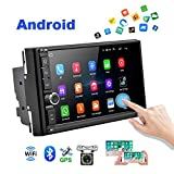 Android Car Radio Double Din Car Stereo with GPS 1080P 7 inch Touch Screen Bluetooth FM Receiver Support WiFi Connect Mirror Link for Android iOS Phone + Backup Camera