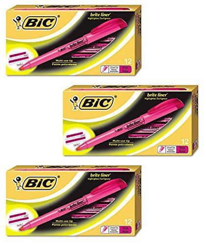 BIC Brite Liner Highlighter Chisel Tip Pink 3-DOZEN (BL11-PK)