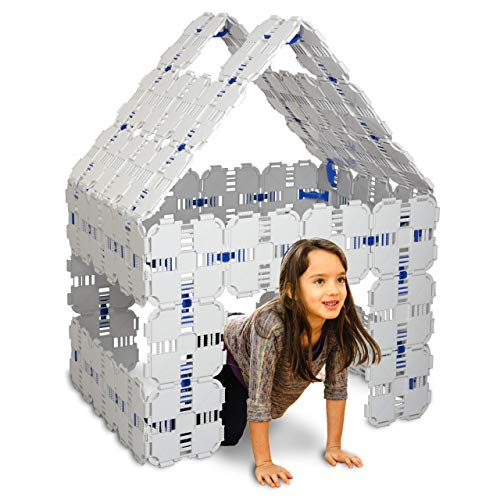 A Fort Kit Build - Fort Boards: Fort Building Kit | Jumbo Blocks - Kids Building Toys | 90 Piece Set: Gray