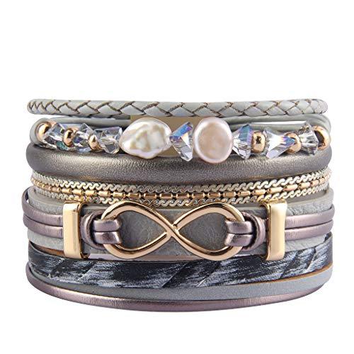 Jenia Infinity Leather Bracelet Endless Love Charm Wrap Bracelets Baroque Pearl Cuff Bracelet Boho Bracelet Jewelry Birthday Gift for Women, Lovers, Teens Girls, Mom, Sister, - Infinity Leather