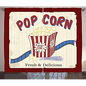 Beauty Decor Movie Theater Kitchen Curtains Window Drapes Fresh and Delicious Pop Corn Film Tickets and Strip Advertising in 60s Theme Blackout Room Darkening Draperies 104 W X 90 L Inch, 2 Panels