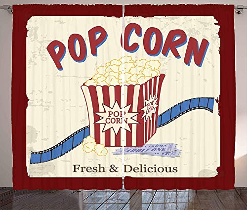 BABE MAPS Movie Theater Kitchen Room Darkening Curtains Fresh and Delicious Pop Corn Film Tickets and Strip Advertising in 60s Theme Blackout Room Darkening Draperies 80 W X 63 L
