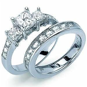 Amazon.com: Princess Cut Diamond Engagement Ring Set ...