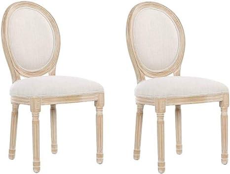 Lot de 2 chaises m/édaillon Versailles Style Louis XVI Lin Beige