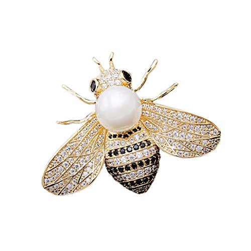 SHANLIHUA Pearl Cute Bee Brooch Pin White Gold Worn with Clothes Hats and Bags. (Pin Brooch White Pearl)
