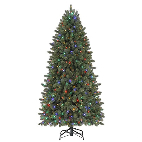 Evergreen Classics Vermont Spruce 6.5 ft Color Changing Pre-Lit Artificial Christmas Tree w/500 LED Lights & Folding Metal Stand (Christmas Tree With Dual Lights White And Multicolored)