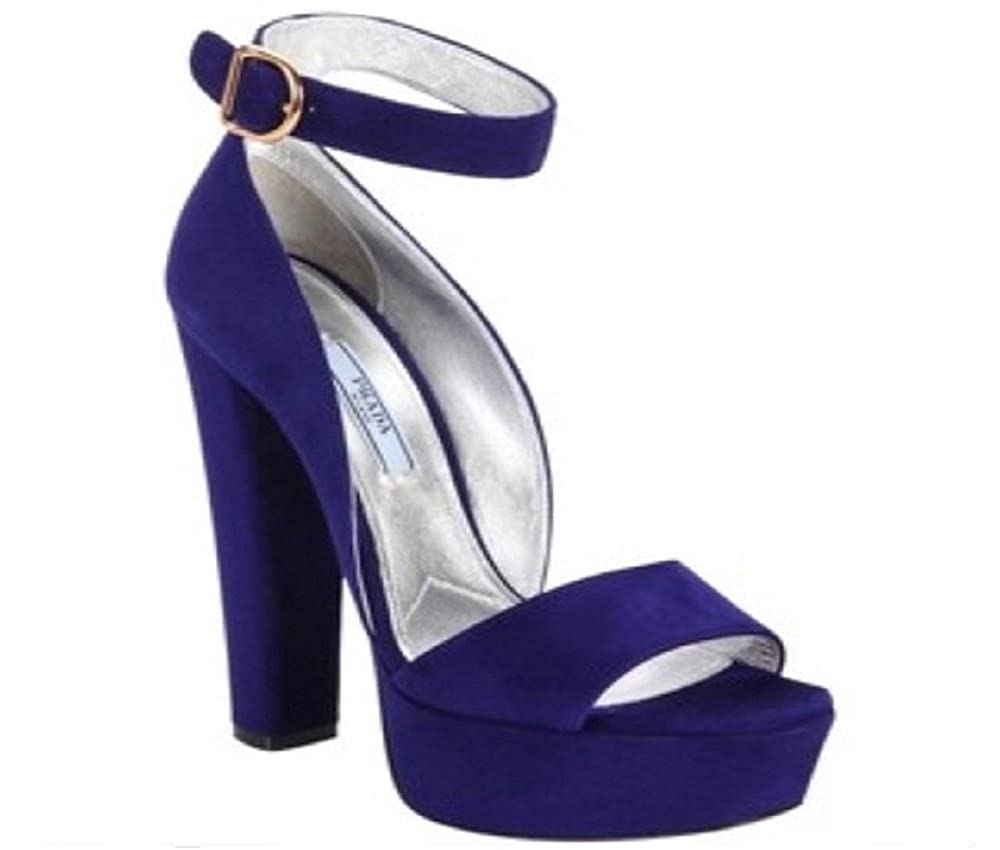eb7b39a0dc Amazon.com | Prada Calzature Donna Navy Platform Suede Pumps | Pumps