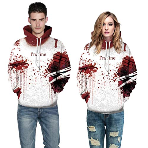 WUAI Clearance Halloween Costumes For Adults Mens Womens Hoodie Sweatshirt Skull 3D Printed Slim Pullover Jackets(Red-A,Size S/M)