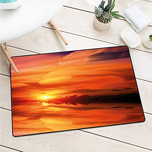 Wang Hai Chuan Nature Front Door mat Carpet Dramatic Sunset Sky Clouds on Lake Horizon Twilight Creamy Scene Artwork Machine Washable Door mat W15.7 x L23.6 Inch Red Vermilion Marigold