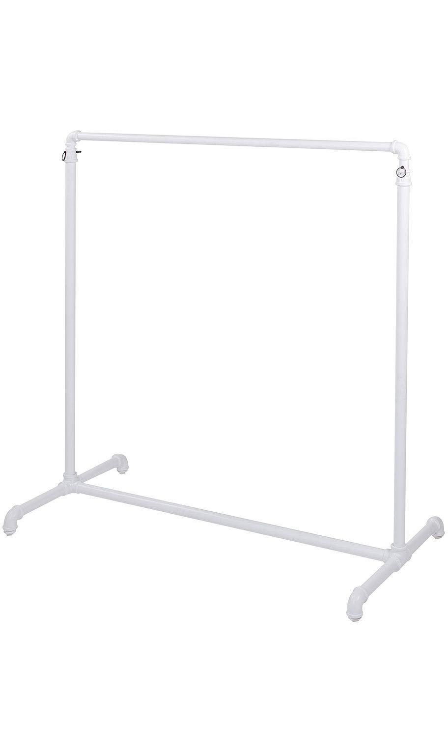 SSWBasics Boutique White Pipe Single Rail Ballet Bar Clothing Rack - 48'' W x 23½''D x 48''-72'' H