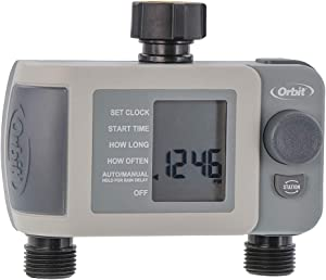 Orbit 24621 2-Outlet Hose Faucet Timer, Gray