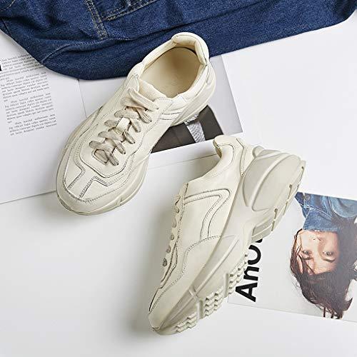 Femmes pour Chaussures augmenté de Ont et Chaussures Hommes de Blanches Cuir Plate Petites Blanc Sport de des Forme des Les en 7FSwqw