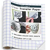 "Kassa Vinyl Transfer Tape Roll (Large 12"" x 12' Feet) - 5 Vinyls Sheets Included - Self Adhesive Clear Application Paper for Permanent Indoor Outdoor Decal - Grid Aligns w/ Cricut & Silhouette Cameo"