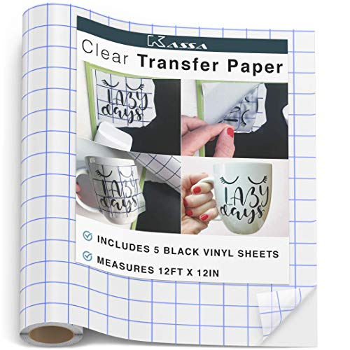 """Kassa Vinyl Transfer Tape Roll (Large 12"""" x 12' Feet) - 5 Vinyls Sheets Included - Self Adhesive Clear Application Paper for Permanent Indoor Outdoor Decal - Grid Aligns w/Cricut & Silhouette Cameo (Line Cameo)"""