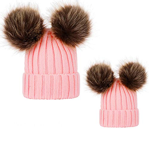 - WensLTD 2PCs Family Matching Hats Mom & Baby Warm Winter Fur Ball Knitted Wool Parent-Child Cap Beanie Ski Cap (Pink)