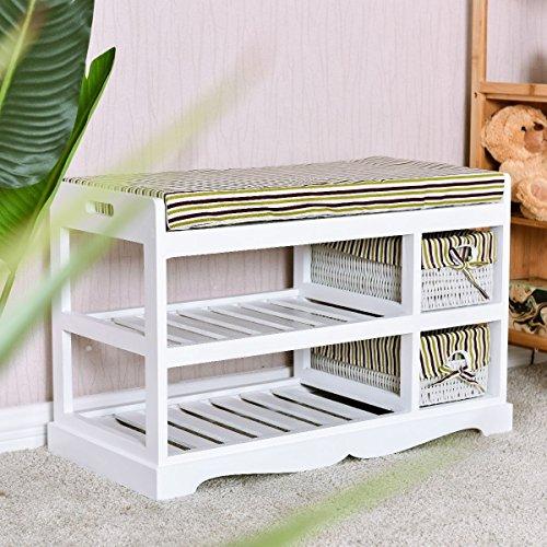 Apontus 2 Basket Padded Entryway Shoe Storage Bench Rack White