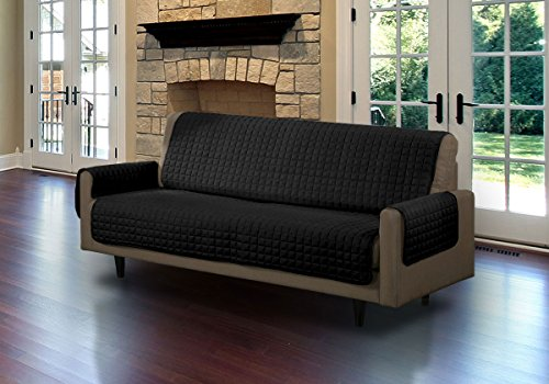 Quilted Microsuede Pet Dog Couch Furniture Protector Cover With Tucks (Black, Sofa)