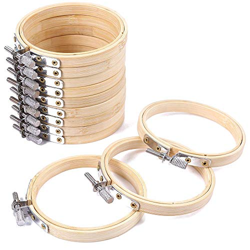 10 Pcs 4Inch Embroidery Hoops Set Cross Stitch Hoop Ring Imitated Wood Display Frame-Circle and Oval Hand Embroidery Kits for Art Craft ()