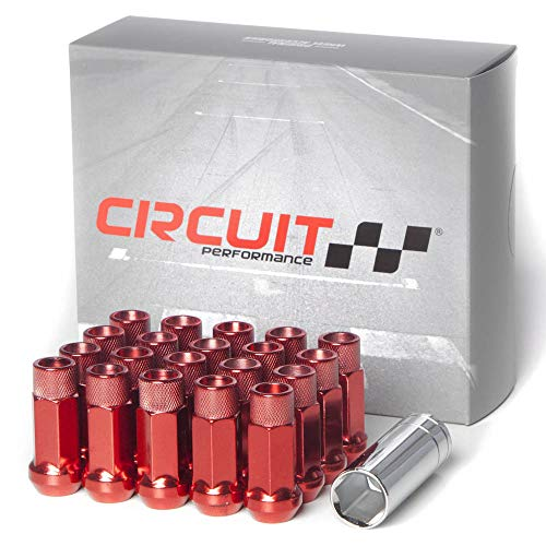 Nuts Lugs Red Tuner (Circuit Performance Forged Steel Extended Open End Hex Lug Nut for Aftermarket Wheels: 12x1.5 Red - 20 Piece Set + Tool)
