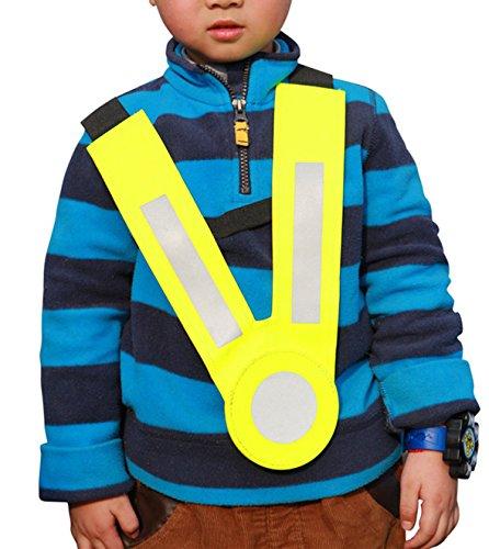 VanSafety Kids Glow Belt Reflective Elastic Vest Safety Children Cross the Road Go to School Gift Kindergarten Pupils Junior Student,yellow
