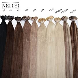 Neitsi 20″ 1g/s 25s/lot Fusion Glue I Tip/Stick Jet Black Remy Human Hair Extensions (1#)