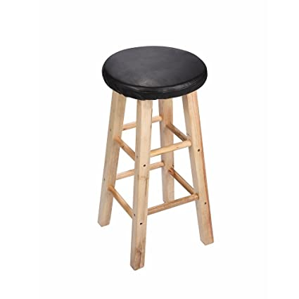 Lominc Black Vinyl Round Bar Stool Cover 2cm Foam Padding Waterproof Anti Slip Stool Cushion For Wooden Metal Stools