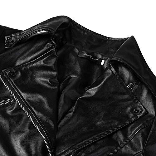 Donna Con Cappotto Primaverile Pu Moda Manica Similpelle Lunga Outerwear Pelle Di Giovane Cerniera In Nero Hipster Autunno Elegante Giubbino Giacca 1dwx1T
