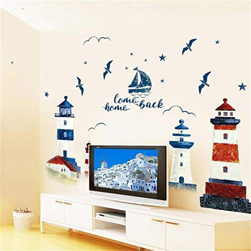 JQSM DIY Wall Stickers Lighthouse Family Removable Boat Bird House Pattern Wall Decal Family Home Sticker Mural Art Home Decor
