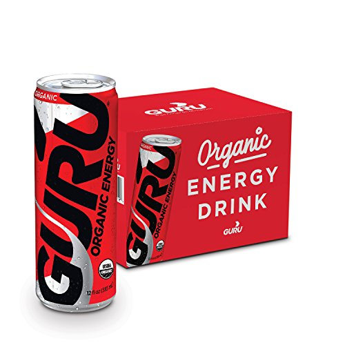GURU Organic Energy Drink – Delicious-Tasting, Vegan, Non-GMO Natural Energy – Experience All Day Energy Without the Jitters, Rush or Crash – 12x 12oz / 355ml Cans