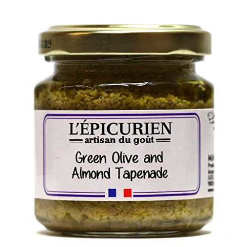 L'Epicurien, Green Olive and Almond Tapenade | Non-GMO | Gluten-Free | All-Natural, 3.5 Ounce Jar (Multipack) (1) ()
