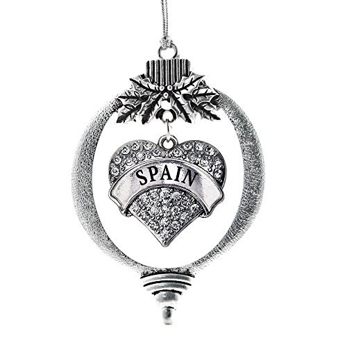Inspired Silver Spain Pave Heart Holiday Christmas Tree Ornament With Crystal Rhinestones by Inspired Silver