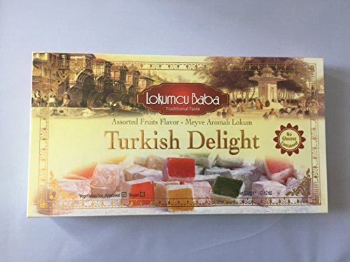 Turkish Delight with Assorted Fruits Flavor, Sweet Confectionery Gourmet Gift Box Candy Dessert 17.6 oz, Halal Turkish Delight