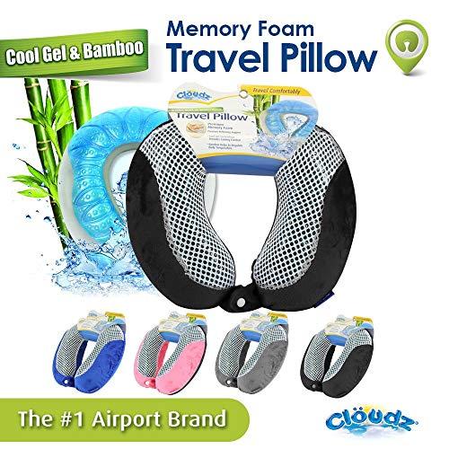 Cloudz Memory Foam Cool Gel & Bamboo Travel Neck Pillow - Black