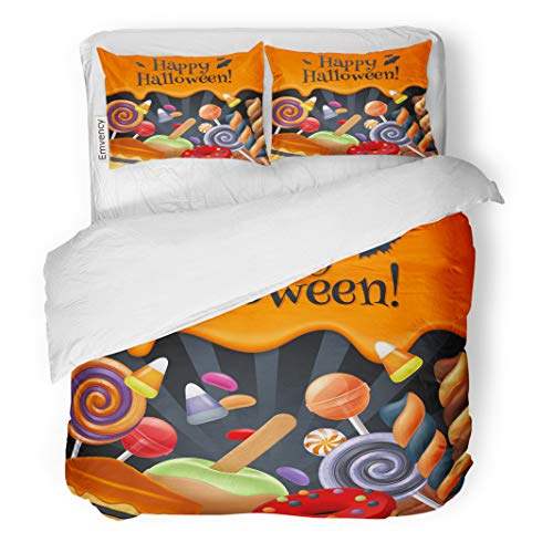Semtomn Decor Duvet Cover Set King Size Halloween Sweets Colorful Party Lollipop Candy Corn Cake Caramel 3 Piece Brushed Microfiber Fabric Print Bedding Set Cover]()
