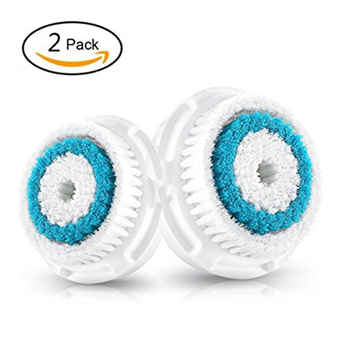2 Brush Replacement Heads (2-Pack Deep Pore Cleanse Brush Head Replacement for Facial Cleanser | Compatible with Mia, Mia2, Mia3 (Aria), Mia Fit, Alpha Fit, Smart Profile, PLUS, PRO)