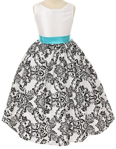 White with Black Velvet Special Occasion Dress w/ Turquoise Sash Girl - (Bright Flowers Dress)