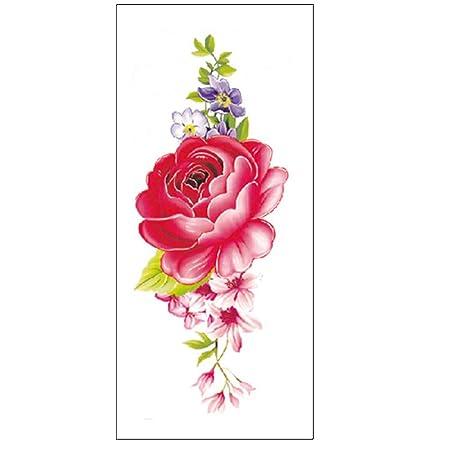 tzxdbh 10pcs- Pegatinas de Tatuaje de boceto en Color Flor peonía ...