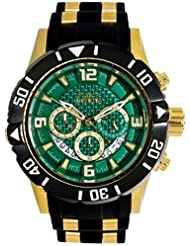 Invicta 23703 Mens Pro Diver Green Dial Yellow Steel & Black Polyurethane Strap Chrono Dive Watch