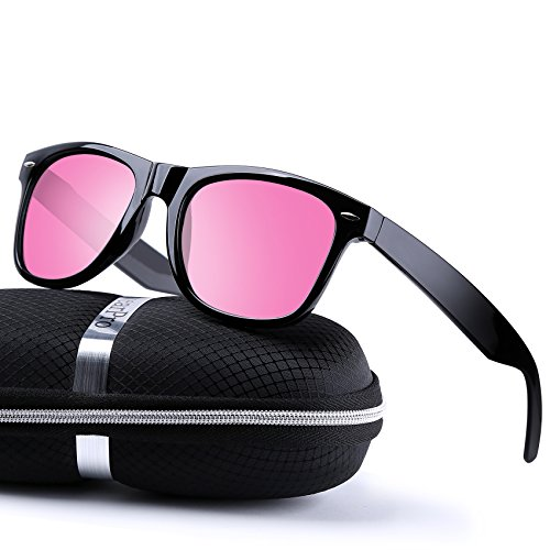 wearPro Wayfarer Sunglasses for Men Women Vintage Polarized Sun Glasses - Pink Polarized Sunglasses