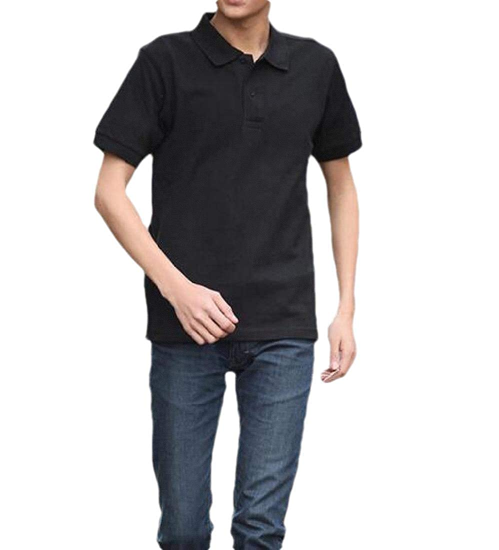 Abetteric Men Short-Sleeve Polo Shirt Business Slim Blouses and Tops Shirts