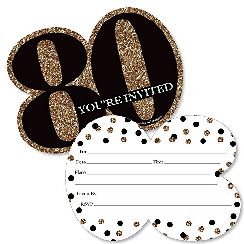 Adult 80th Birthday - Gold - Shaped Fill-In Invitations - Birthday Party Invitation Cards with Envelopes - Set of 12 for $<!--$13.99-->
