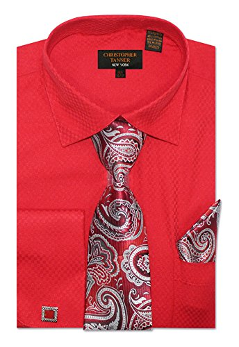 Unique Red Combo - Christopher Tanner Men's Regular Fit Dress Shirts with Tie & Hankerchief Cufflinks Combo Unique Pattern 15.5