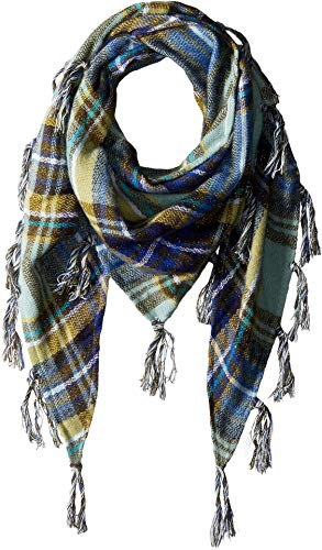 Collection XIIX Women's College Plaid with Metallic Triangle Scarf, Teal, One Size