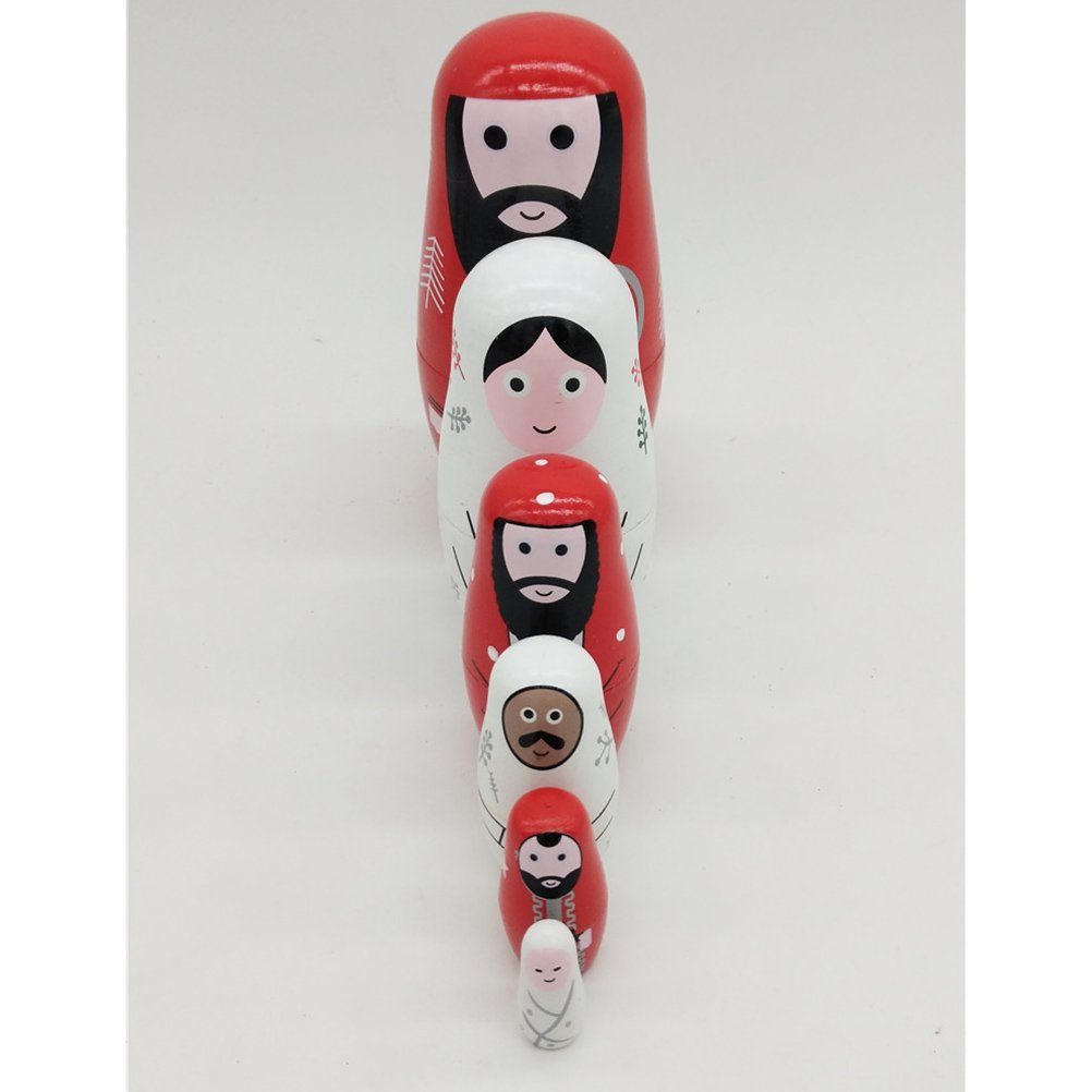 Pack of 6/Ultnice Russian Doll Babushka Interlacing Wooden Russian Nesting Dolls Toy Gift Jesus