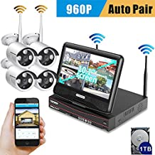 """[All-in-One] SMONET HD 4CH 960P 1TB HD Wireless Video Security Camera System(NVR Kits&DVR kits) with 10.1"""" Monitor, 4PCS 1.3MP Wireless Weatherproof Bullet IP Cameras,Plug and Play,65ft Night Vision"""