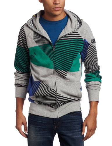 Volcom Men's Vacation Full Zip Hoodie, Heather Grey, Large